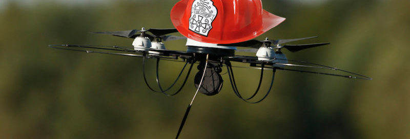 A Drone With A Fire Department Hat On