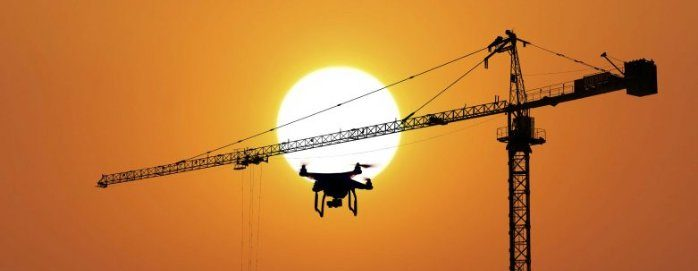 Drone Flying Near A Crane